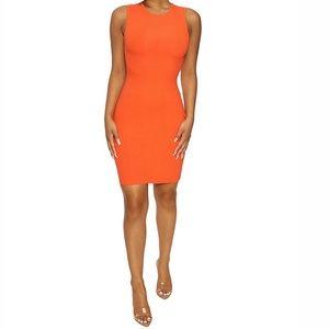 Forever 21 Orange Sleeveless Midi Dress